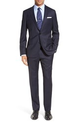 Boss Men's 'Huge Genius' Trim Fit Windowpane Wool Suit Navy