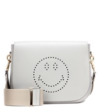 Anya Hindmarch Smiley Ebury Satchel Leather Shoulder Bag Grey