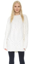 Vera Wang Oversized Fisherman Cable Pullover Ivory