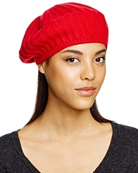 C By Bloomingdale's Cashmere Ribbed Beret Red