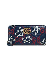 Guccighost Print Wallet Women Leather Metal One Size Blue