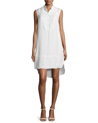 Atm Sleeveless Flaxen Tuxedo Shirtdress