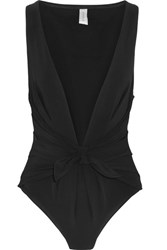 Zimmermann Windsome Plunge Front Swimsuit Black