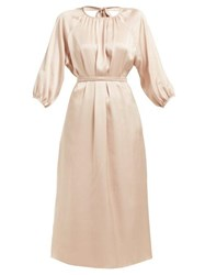Rochas Olympic Open Back Silk Satin Midi Dress Nude