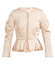 Brock Collection Orth Peplum Hammered Twill Jacket Pink