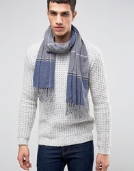 Asos Lambswool Check Scarf In Blue Check Blue