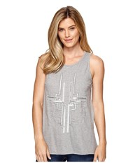 Dylan By True Grit Mosaic Sequins Stitched And Beaded Tank Top Heather Grey Women's Sleeveless Gray