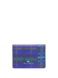 Etro Checked Billfold Cardholder Blue