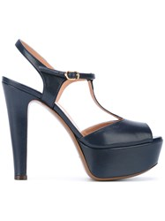L'autre Chose Iconic T Bar Platform Sandals Women Calf Leather Leather 36 Blue