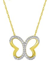 Elani Jewelry 10K Gold Plated Sterling Silver Diamond Butterfly Pendant Necklace 0.10 Ctw Yellow