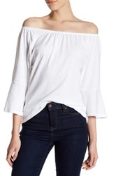 Workshop Boatneck Bell Sleeve Shirt Petite White