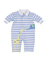 Florence Eiseman Elephant And Giraffe Striped Polo Coverall Multi