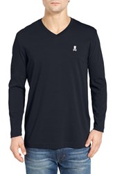Psycho Bunny Men's Long Sleeve V Neck T Shirt Navy