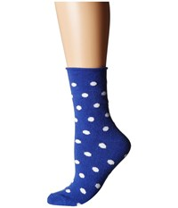 Plush Thin Rolled Fleece Socks Cobalt Dot Women's Crew Cut Socks Shoes Silver