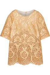 Dolce And Gabbana Metallic Guipure Lace And Brocade Top