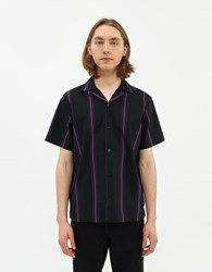 Saturdays Surf Nyc Canty Stripe Short Sleeve Shirt In Black Size Small 100 Cotton