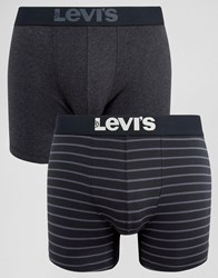 Levi's Boxer Brief In 2 Pack Black Stripe Black