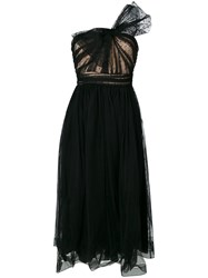 Red Valentino One Shoulder Bow Detail Tulle Dress Women Polyamide Polyester 42 Black