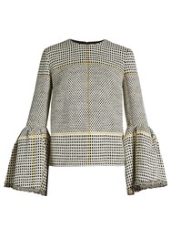 Roksanda Ilincic Truffaut Bell Sleeved Basket Weave Top Black White