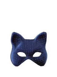 Maison Michel Glittered Velvet Cat Mask Blue