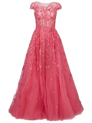 Zuhair Murad Sequin Embellished Flared Gown Pink And Purple