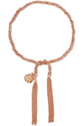 Carolina Bucci Globe Lucky 18 Karat Rose Gold And Silk Bracelet One Size