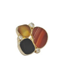 Isharya Ring In Gold With Druzy Stones
