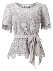 Jacques Vert Flower Lace Top Mid Grey