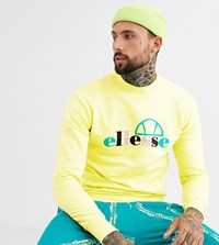 Ellesse Stel Large Logo High Neck Sweat In Lime Exclusive At Asos Yellow