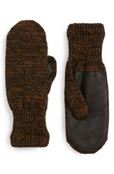 Men's Upstate Stock 'Ragg' Wool Blend Knit Mittens With Deerskin Leather Trim Brown Black Rust