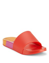 Katy Perry Fifi Colorblock Slide Sandals Red Orange