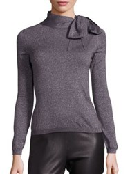 Saks Fifth Avenue Metallic Bow Sweater Charcoal Silver