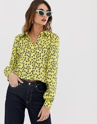 Lost Ink Satin Shirt In Floral Yellow