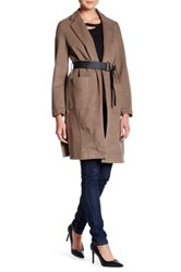 Ooberswank Faux Leather Belted Coat Brown