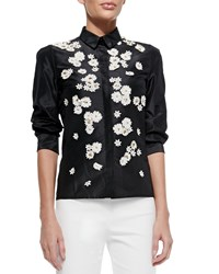 Carolina Herrera Daisy Embroidered Button Front Blouse Black
