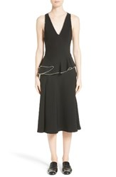 Alexander Wang Women's Chain Trim Silk Ruffle Dress Onyx
