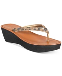 Kenneth Cole Reaction Fine Sun Wedge Sandals Medal Gold