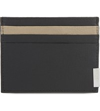 Armani Collezioni Saffiano Contrast Leather Card Holder Black