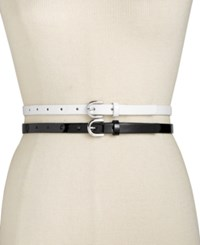 Inc International Concepts 2 For 1 Patent Belt Only At Macy's Black White