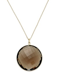 Macy's 14K Gold Necklace Smokey Quartz Round Pendant 60 Ct. T.W.