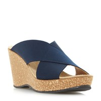 Linea Kady Elasticated Cross Over Strap Wedge Sandal Navy