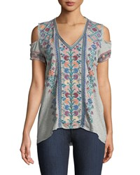 Johnny Was Clover Cold Shoulder Embroidered Tee Heather Grey