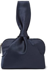 The Row Wristlet Knotted Satin Clutch Navy