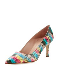 Manolo Blahnik Bb Painted Snakeskin 70Mm Pump Multi Paint Snake