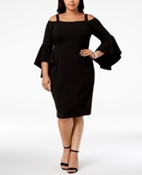 R And M Richards Plus Size Off The Shoulder Flared Sleeve Dress Black