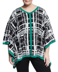 Misook Plaid V Neck Poncho Tunic Black Pattern