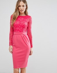 City Goddess Long Sleeve Pencil Midi Dress In Lace Raspberry 34 Pink