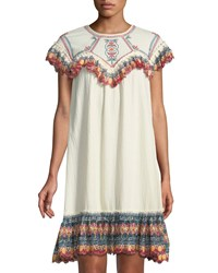 Leon Max Embroidered Gauze Short Sleeve Dress Cream