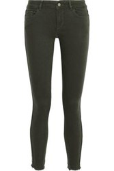 Dl1961 Woman Margaux Cropped Frayed Mid Rise Skinny Jeans Dark Green