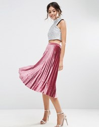 Asos Pleated Midi Skirt In Velvet Mauve Brown